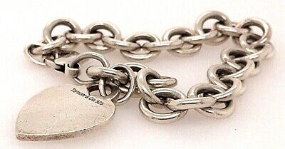 """Tiffany & Co. Sterling Silver Blank Heart Tag Bracelet 7.5"""" 925 Authentic"""