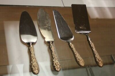 Kirk Stieff Sterling Silver Repousse Rose Cake Spatula Slice Knife Serving Lot 4