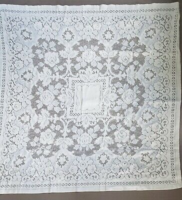 Vintage Ivory Lace Tablecloth Table Topper Square Subtle Tablescape Mid Century