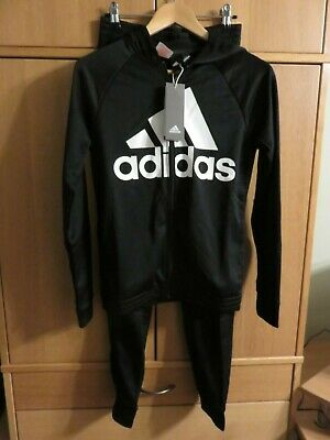 ADIDAS Girl's Tracksuit Set - Age 13/14 - Zipped Hoodie + Pants - Black - NEW