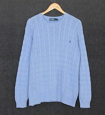 POLO by RALPH LAUREN Crew Neck Cable Knit Cotton Jumper Sweater Men Size XL