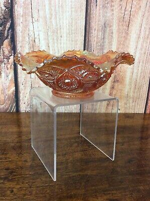 Carnival Glass - Small - Compote/Fruit Bowl - Orange Iridescent - Saw Tooth Rim