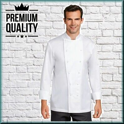MERCERIZED iTECH 100% COTTON WHITE CHEF JACKET LONG SLEEVE MENS UNIFORM CJ14