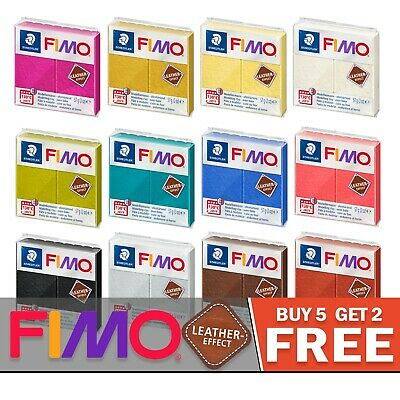 FIMO Leather Polymer Oven Modelling Clay - 11 Colours - 57g - Buy 5 Get 2 Free