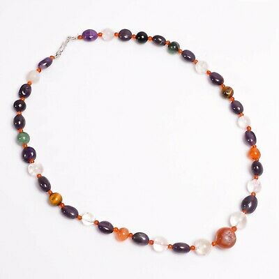 """Natural Amethyst Carnelian Crystal Gemstone Faceted Beads 18"""" Long Necklace"""