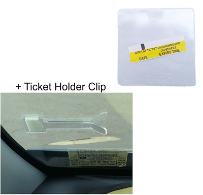 Clear Self-Adhesive Car Parking Permit Square Holder + Windscreen Holder Clip