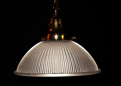Rare 1930s Official English Holophane Prismatic ribbed glass pendant light shade