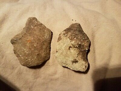 Paleo native American neolithic limestone gouge spear heads