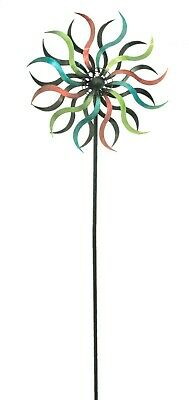 Multicoloured Spinning Spiral Metal Garden Windmill Wind Ornament Decoration
