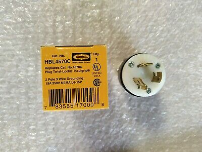 Hubbell HBL4570C Power Entry Connector 2 pole 3 wire Grounding 15A 250V