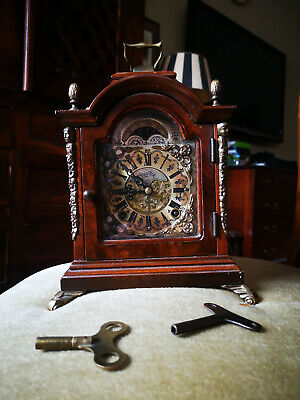 Dutch vintage mantle clock with moon phase and westminister chime