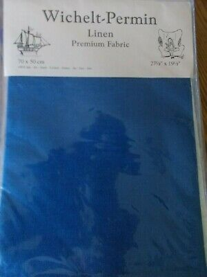 "Cross stitch Fabric Linen "" Nordic Blue"" New by Permin 28ct   27.5"" x 19.5"""