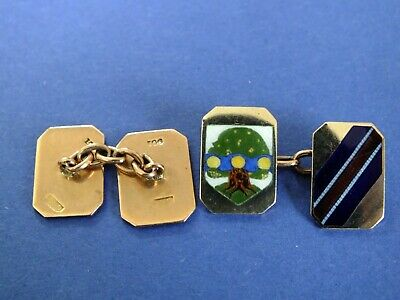 Stylish And Unusual 9Ct Rose Gold Heavy Art Deco Cuff Links Makers Cropp & Farr