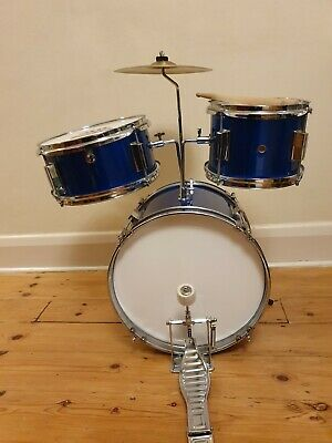 Tiger junior drum kit blue with sticks and stool. From a smoke and pet free home