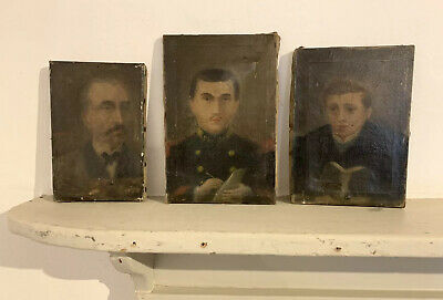 19th CENTURY SET OF THREE FAMILY PORTRAITS - FRENCH 1880'S - FATHER & TWO SONS