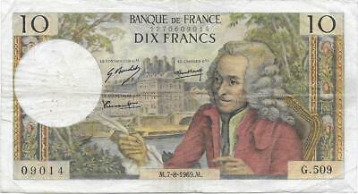 France Banknote - 10 Dix Francs from 1969