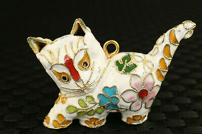 old chinese cloisonne hand painting white cat statue netsuke pendant collectable