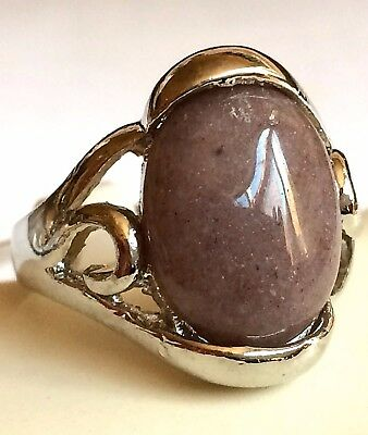 Silver Amethyst Art Deco Cocktail Ring Size 8 Natural Boho Style Plated USA