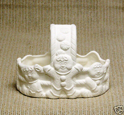 Ceramic Bisque Gingerbread Basket Donas Mold 1224 U-Paint Ready To Paint