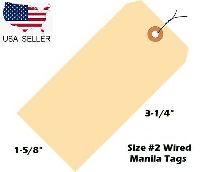 """Pack of 100 Size 2 Manila Inventory Shipping Hang Tags with Wire 3 1/4"""" x 1 5/8"""""""