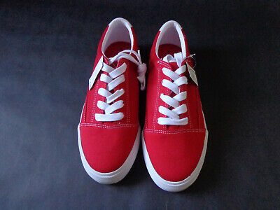 Next Girls Womens Red & White Canvas Trainers Shoes UK Size 5/EUR 38 - NEW!