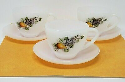 3 Vintage Arcopal Milk Glass Tea Cups with Saucers Retro Fruit France