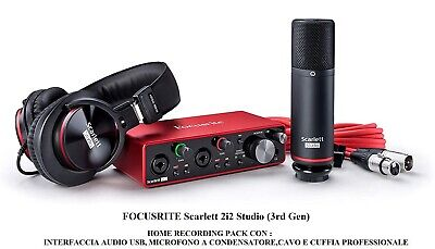 FOCUSRITE Scarlett 2i2 Studio 3rd Gen INTERFACCIA AUDIO USB + MICROFONO +CUFFIA