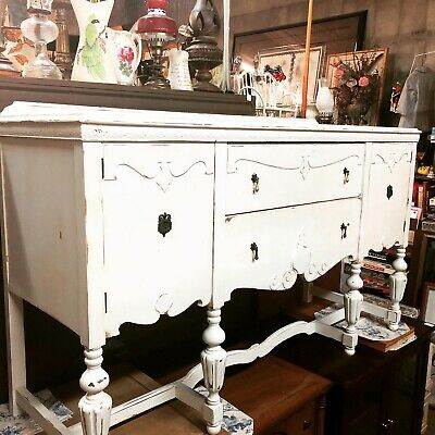 Vintage Antique Victorian Painted Sideboard/Buffet. Creamy White. Gorgeous!