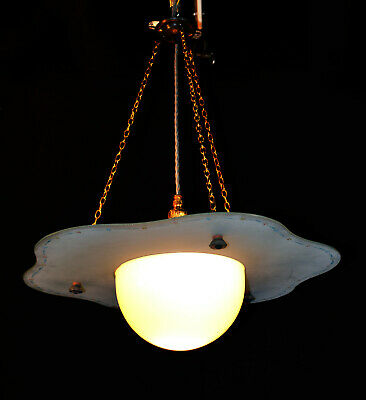 Rare 1940s space age flying saucer Atomic ceiling pendant Opaline glass light