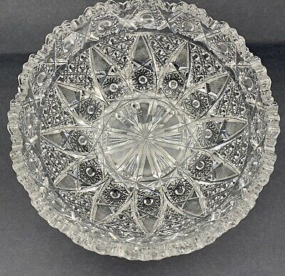 """Antique Exceptional American Brilliant Period Cut Crystal Glass Large Bowl 9""""VTG"""