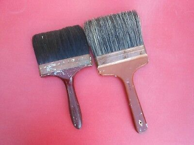 2 Vintage Copper Furrule Paint Brushes Flogging Brushes