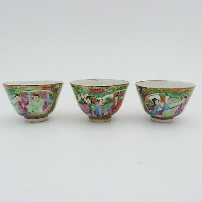 Set Of Three Chinese Canton Famille Rose Porcelain Wine Cups, 19Th Century