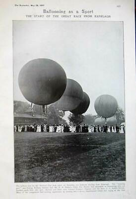 Original Old Antique Print 1907 Hot Air Ballooning Race Ranelagh Harbord Cup