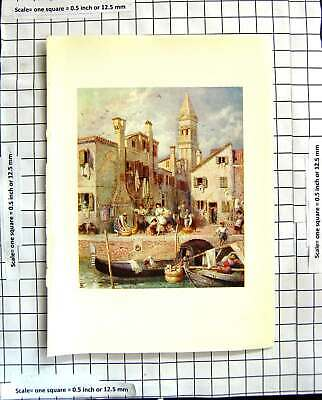 Original Old Antique Print C1907 Colour Plate Morland Burano Venice Italy Canal