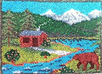 "Latch Hook Scenic Rug  Kit ""Northwoods Stroll"" Size 27"" X 20"""