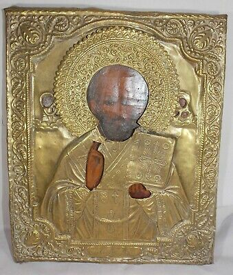 Antique Russian Icon Saint St Nicholas ? In Oklad Early W/ Original Cloth Back