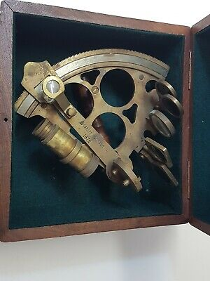 Nautical maritime brass reproduction sextant with wooden box