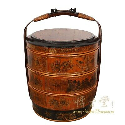 Vintage Chinese Hand painted 3 Tier Wedding Basket/Lunch Box