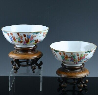 Fine Pair Antique Chinese Famille Rose Boys Parade Landscape Bowls Seal Marks