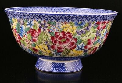Retro China Porcelain Painting Flower Tea Bowl Home Decoration Craft Gift Old