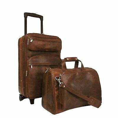 Amerileather Waxy Brown Leather 2-piece Carry On Luggage Set Brown