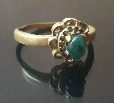 Antique Ring Bronze Viking Nordic Jewelry Type Very Rare Collection Stone Unique