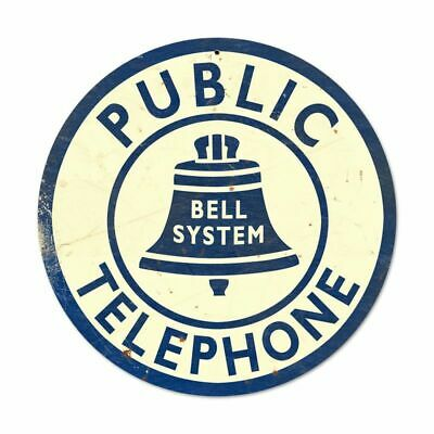 """Public Telephone Vintage Looking 14"""" Round Sign Plaque Wall Decor"""