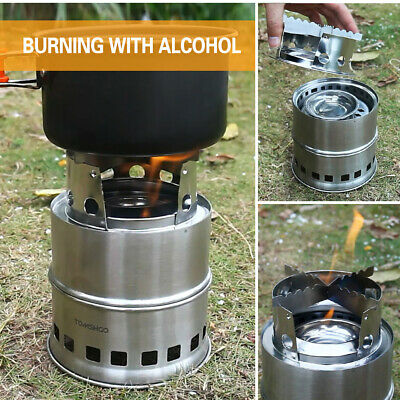 TOMSHOO Windproof Camping Wood Stove Outdoor Cooking Alcohol Stove With Bag N4N3