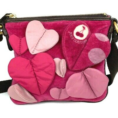 Juicy Couture Girls Pink Folded Hearts Cherry Polka Dots Crossbody Shoulder Bag