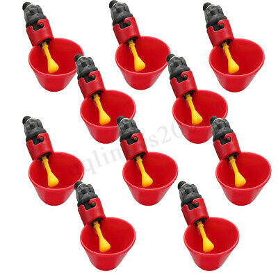 AU 10Pcs Automatic Cups Water Feeder Drinker Chicken Waterer Poultry Chook Drip