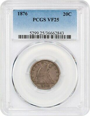 1876 20c PCGS VF25 - Desirable 20-Cent Piece - 20-Cent piece