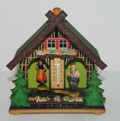 Vintage German Bambi Weather House with Thermometer