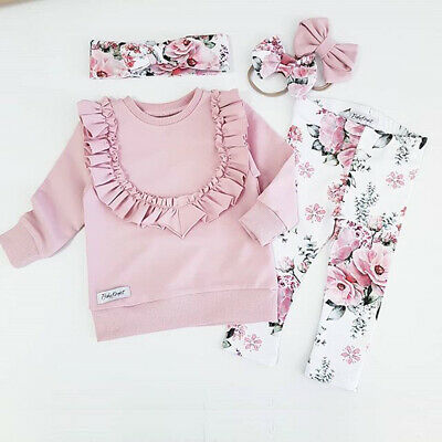 USA Toddler Kids Baby Girls Ruffle T-Shirts Floral Pants Leggings Outfit Clothes