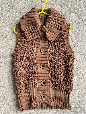 New Gap Age 6-7 Brown Knitted Cardigan Gillet Boys Girls